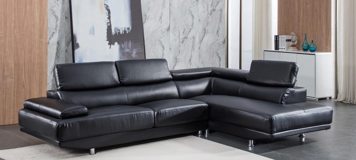 Canapé d'angle droit en cuir noir - Hudson