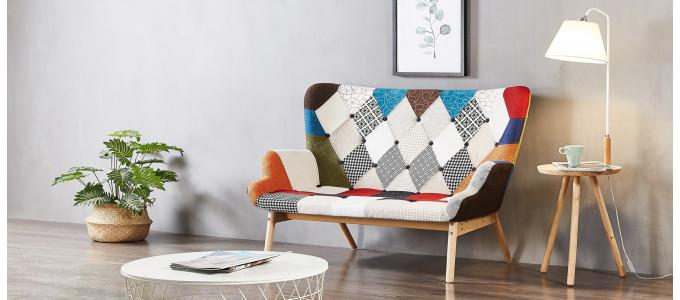 Canapé 2 places patchwork en tissu - Stockholm