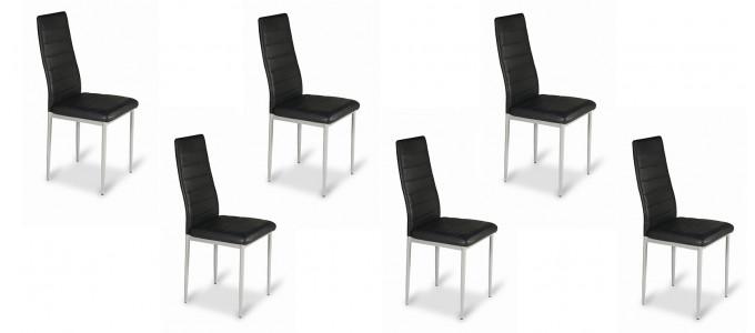 Lot de 6 chaises salle à manger noires - Lena