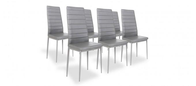 Lot de 6 chaises grises - Lena
