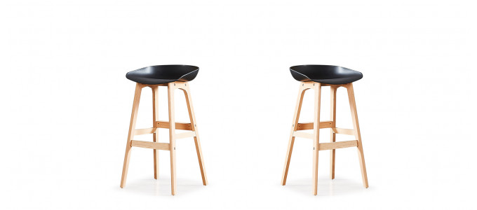 Lot de 2 tabourets de bar scandinaves noirs - Bera