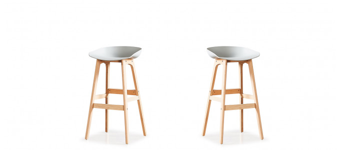 Lot de 2 tabourets de bar scandinaves gris - Bera