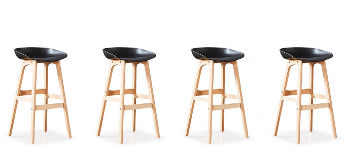 Lot de 4 tabourets de bar scandinaves noirs - Bera