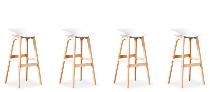 Lot de 4 tabourets de bar scandinaves blancs - Bera