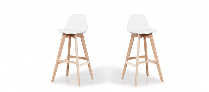 Lot de 2 tabourets de bar scandinaves blancs - Eski