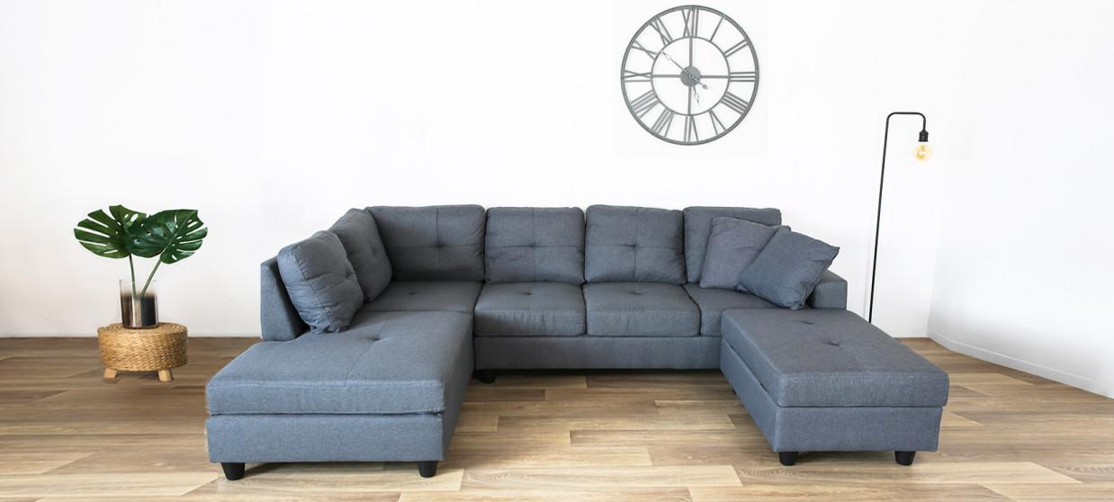 Canapé angle gauche tissu gris coffre de rangement - Viggo
