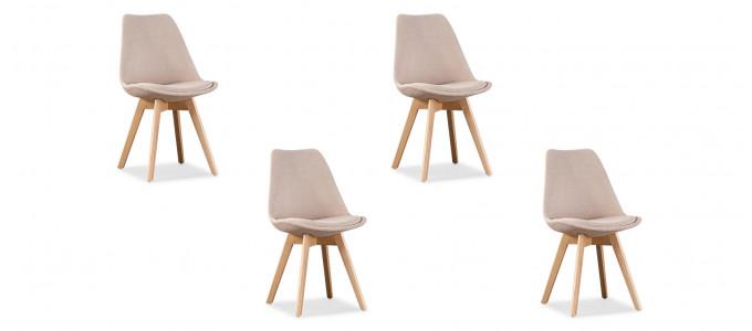 Lot de 4 chaises scandinaves en tissu beige - Bjorn