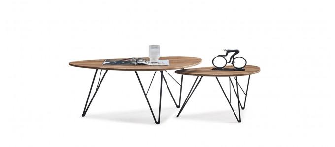 Lot 2 tables d'appoint ovales en bois - Luana