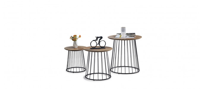 Lot 3 tables d'appoint rondes en bois - Orlia