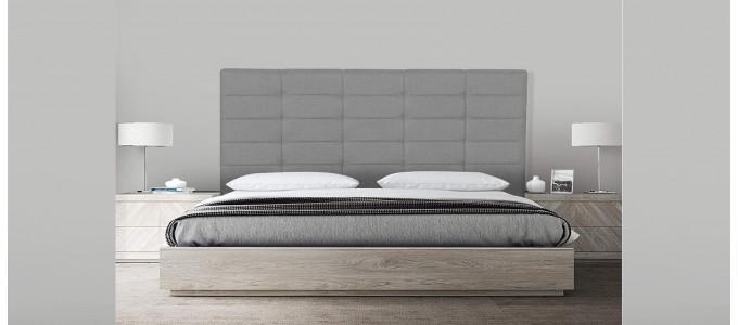 Tête de lit capitonnée gris 180 cm - Confort