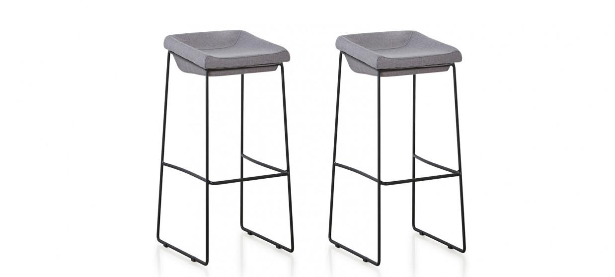 Lot de 2 chaises hautes en tissu grises - Udinese